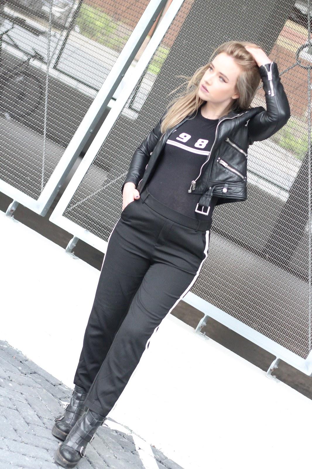 Fashion blogger Lucy Love wears racing stripe trend