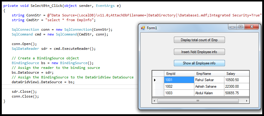 Sql executereader example in c# | hubpages.