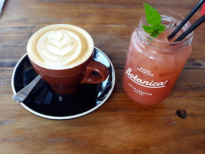 Latte and watermelon juice at Axil Coffee Co Kirribilli Sydney