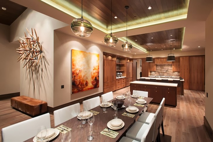 Dining room in Modern mountain house in Aspen, Colorado