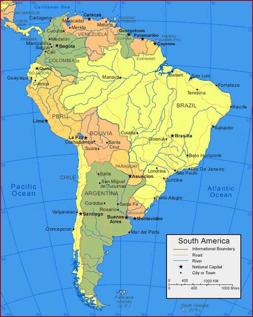 Gambar Peta Wilayah Amerika Selatan