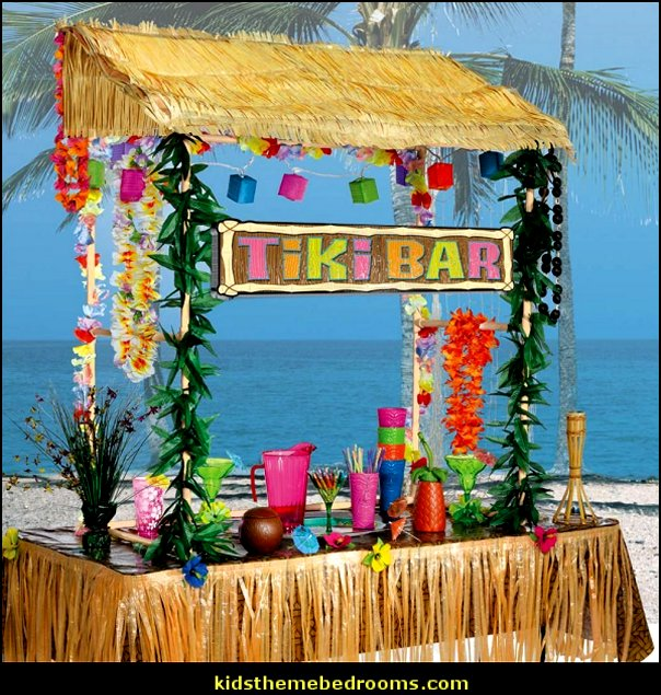 Table Top Tiki Bar Hu tropical party decorations  Raffia Table Skirts
