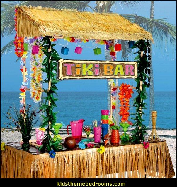 Table Top Tiki Bar Hu tropical party decorations  Raffia Table Skirts
