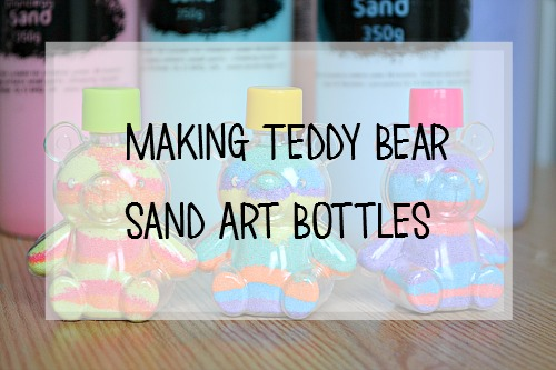 Pastel Coloured Sand and teddy bear sand bottles from baker ross review