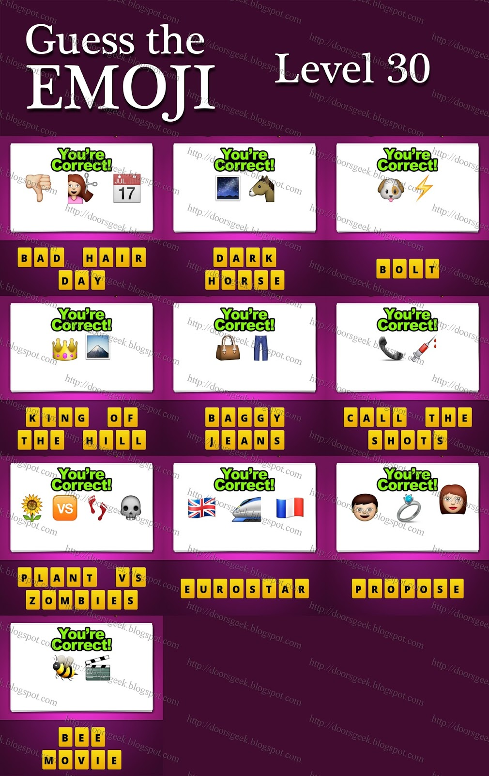Guess The Emoji [Level 30] Answers and Cheats ~ Doors Geek