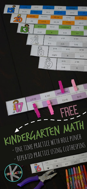 These are such a fun, clever activity for kindergarten math. Grab the pdf file with the template in color or black and white to have fun practicing number sense with preschool, pre k, kindergarten, and first grade students. These addition within 10 or addition within 20 clip cards are such a fun math activity for kindergartners.