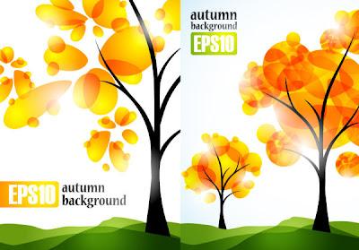 vectores de árboles de otoño
