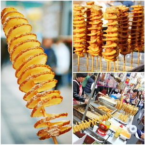 Tornado potato popular korean street foods