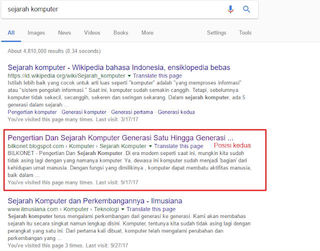 Cara Mengetahui Urutan Atau Rangking Artikel Di Google Atas Keyword Tertentu