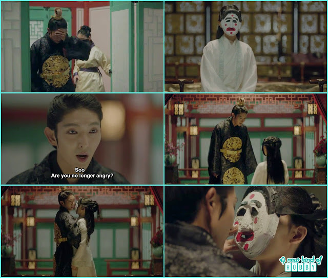 wang so when saw someone wearing the mask in his room thought it was hae soo and ask if se is not angry anymore and pull over him - Moon Lovers Scarlet Heart Ryeo - Episode 18 (Eng Sub)
