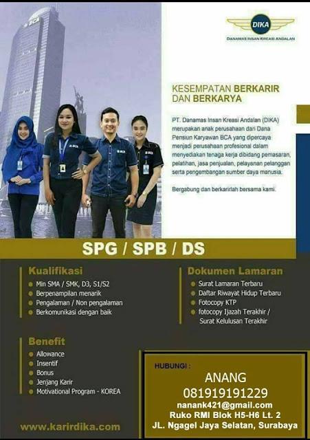 lowongan kerja SPG dika surabaya