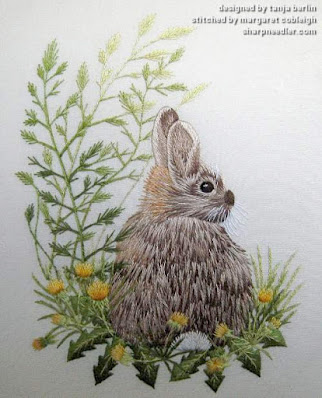 Completed embroidered thread painted 'Wild Rabbit' designed by Tanja Berlin