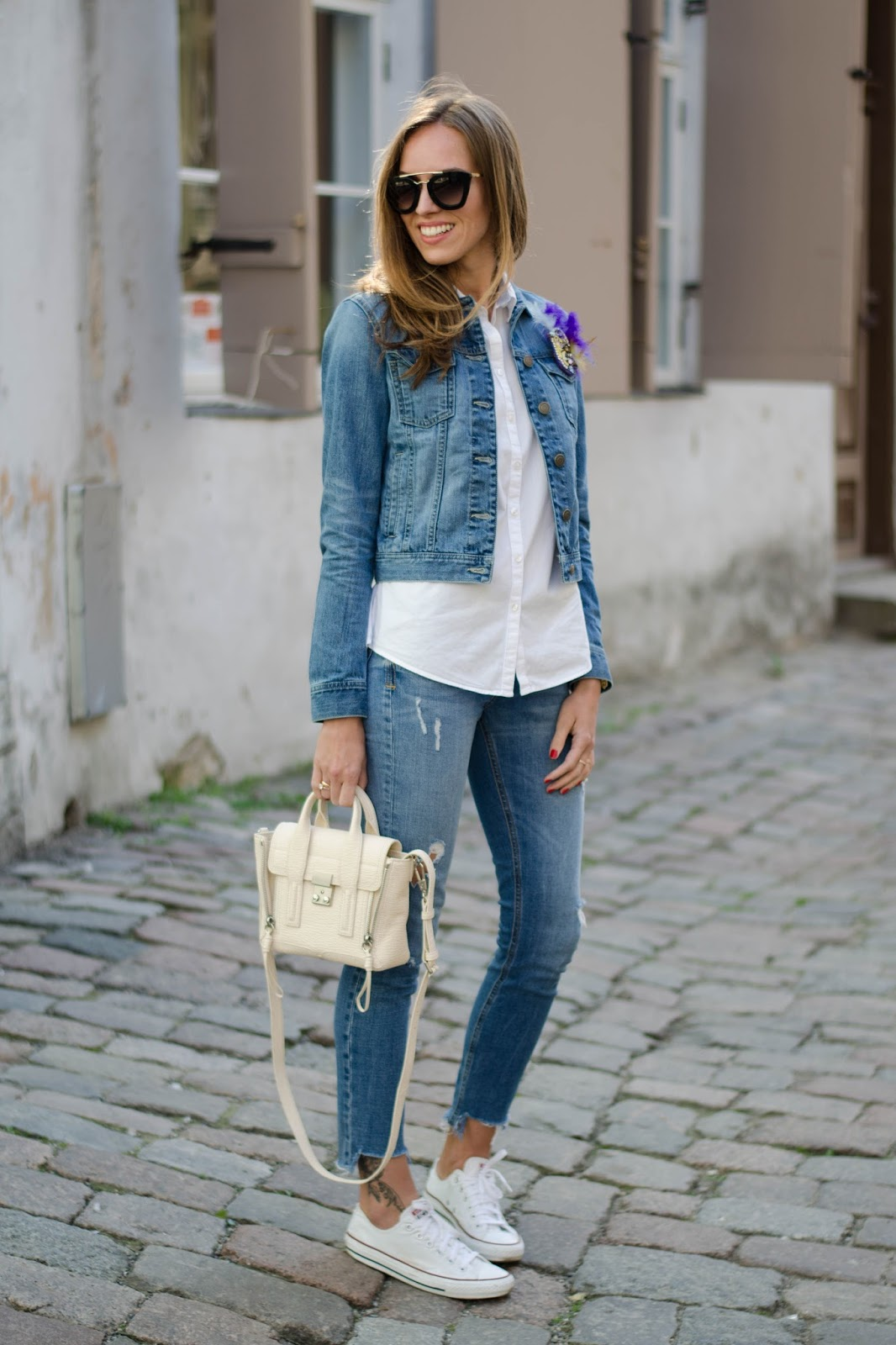 kristjaana mere denim jacket white shirt converse spring casual outfit