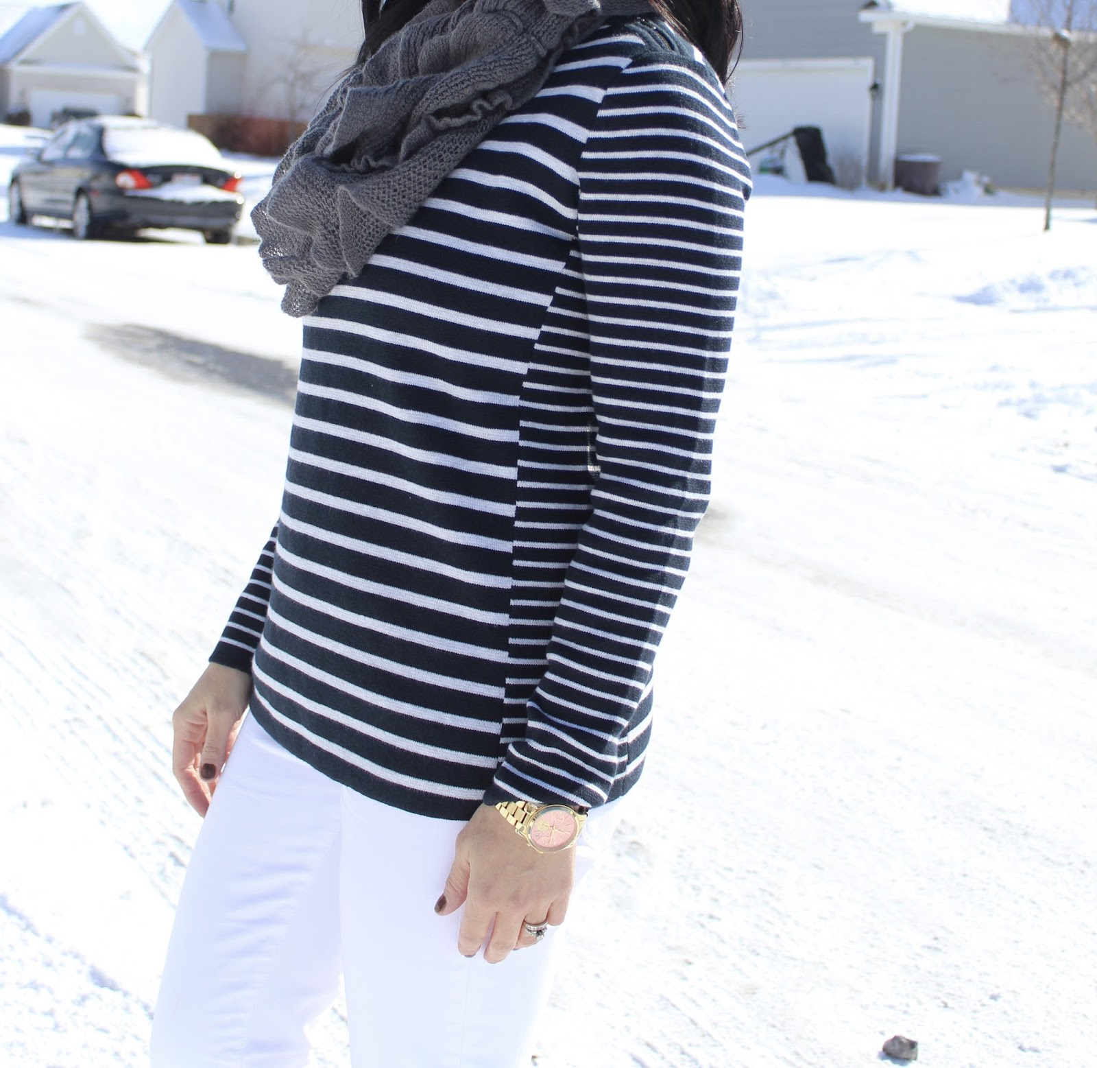grey and navy striped sweater via J. Jill.