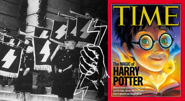banda de las juventudes hitlerianas exhibiendo el estandarte de las ss y la portada de harry potter en times