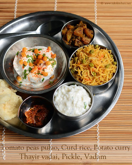 Indian Lunch Idea Dum Aloo Veg Pulao Tomato Rice Curd Vada