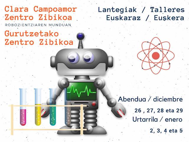 Cartel de los talleres infantiles de ciencia y robótica