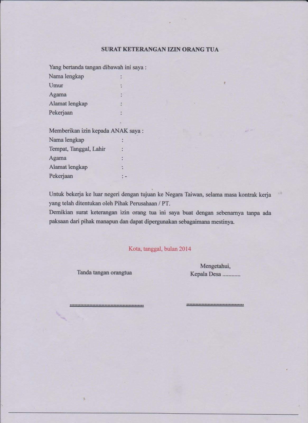 Contoh Surat Pernyataan Izin Dari Suami Detil Gambar Online