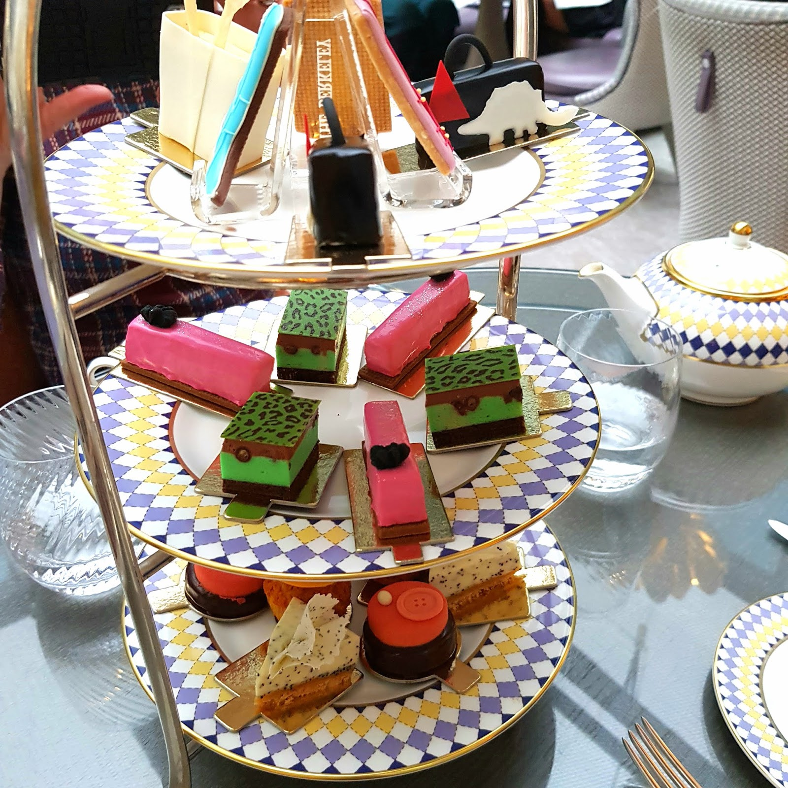 Cake stand featuring cakes with a couture influence at the Berkeley Hotel in London