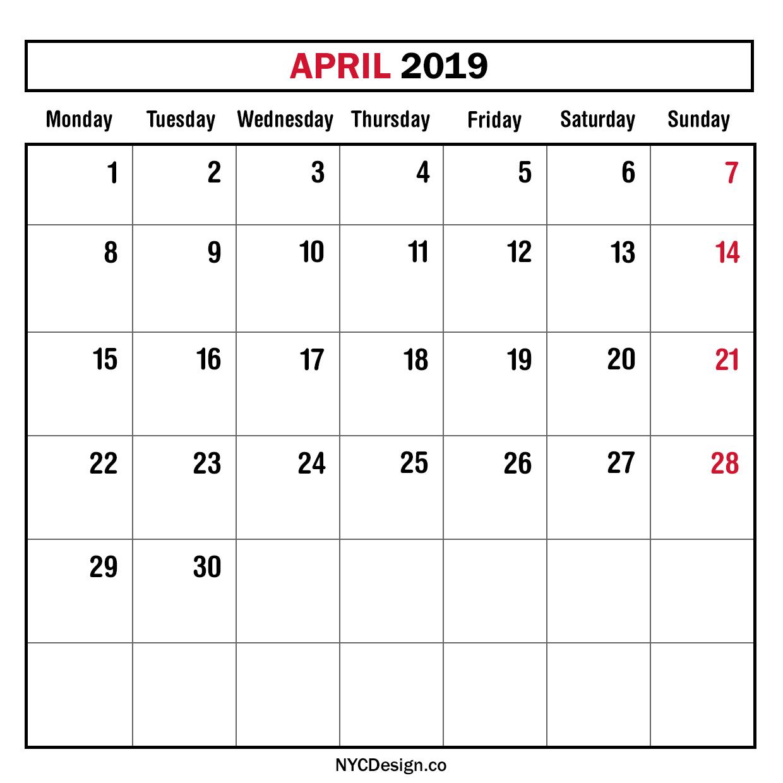 Calendar New York April : New york web design studio ny monthly planner