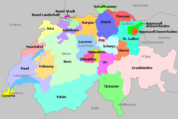 Switzerland Map with Regions