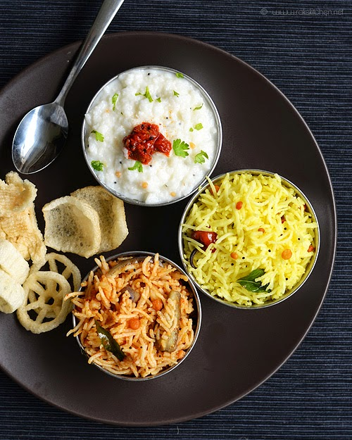 vaangi baath, lemon rice, curd rice