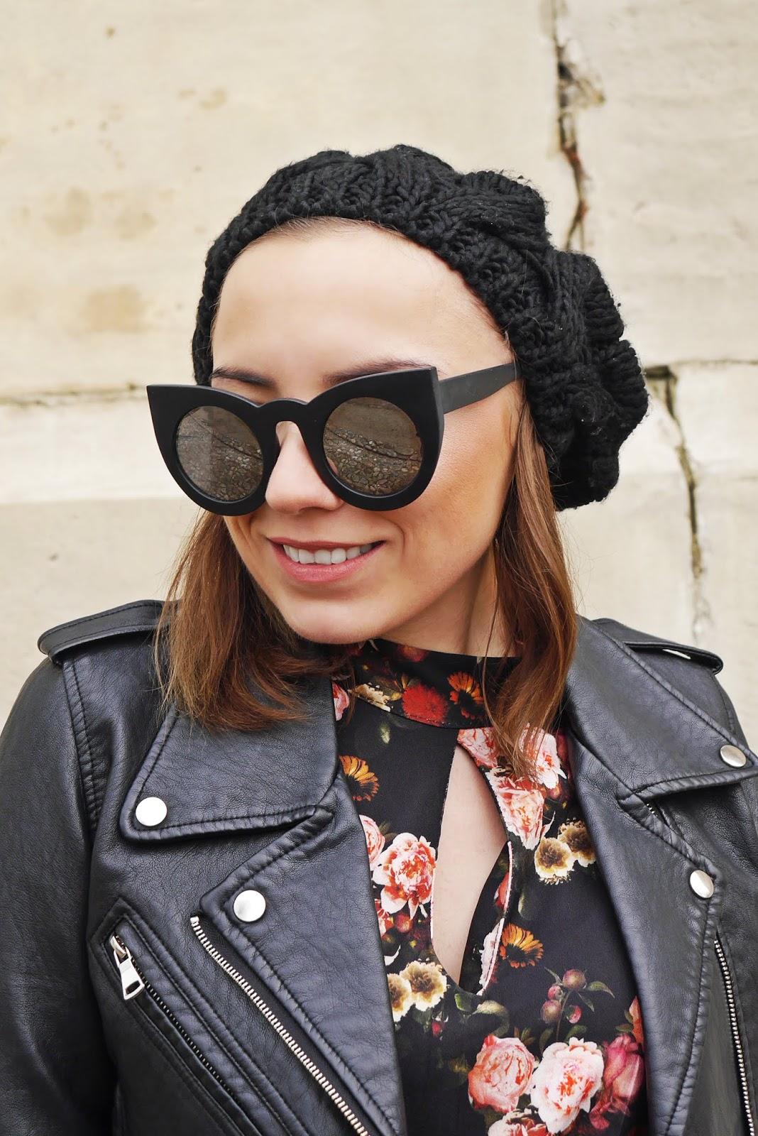 sukienka w kwiaty renee design botki czarne beret ramoneska karyn blog modowy blogerka modowa blog o modzie