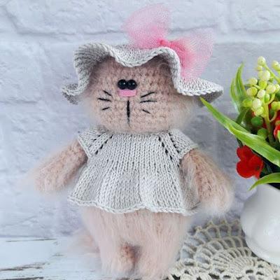 Кошечка амигуруми игрушка крючком