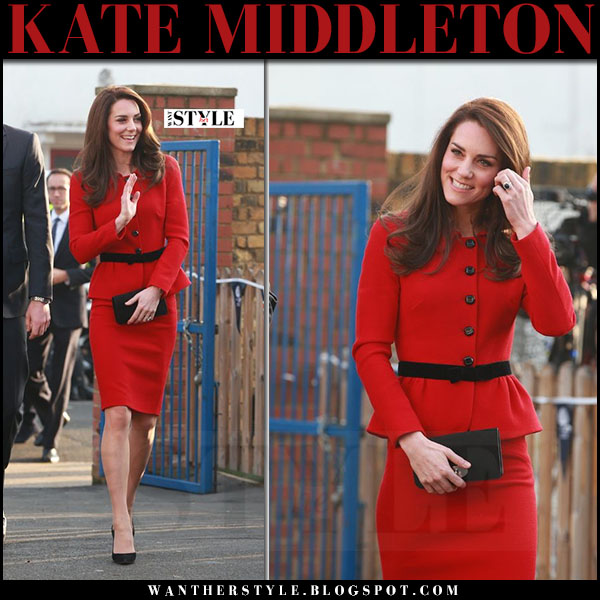 Kate Middleton in red peplum jacket, red pencil skirt with black suede pumps gianvito rossi what she wore 2017