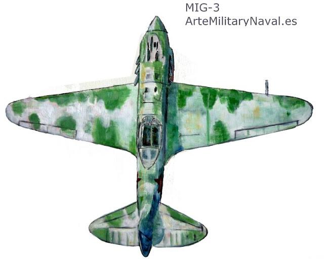 Pintura al óleo de MIg-3 Ruso de la Segunda Guerra Mundial
