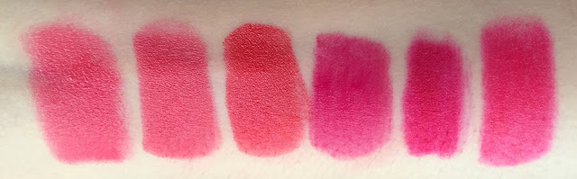 Pupa I'm Lipstick 412, Neve Cosmetics Mousse Framboise, NARS Audacious Kelly, Bourjois Rouge Velvet - Pink Pong, I Heart MakeUp WoW Stick - Sunday Girl, ignoto