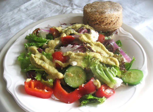 Greek Salad dressed with Hummus