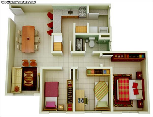 Casa de três quartos e um banheiro 1