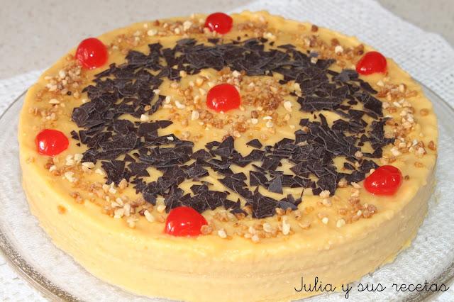 Tarta de obleas con flan. Julia y sus recetas