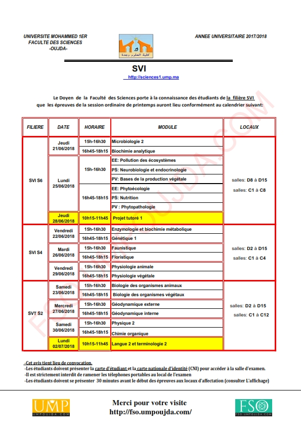 SVI : Calendrier des examens de la session ordinaire de printemps 2017/2018