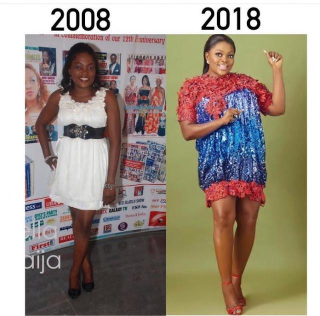 Funke Akindele, 10 years challenge: Linda Ikeji, Funke Akindele, Toyin Abraham, Bobrisky, others break the Internet (photos)