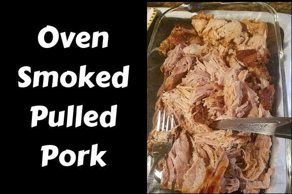 Smoked oven roasted pulled pork in juices, spices and cooked until tender slowly cooked. This smoked pulled pork  was cooked in a dutch oven and in a glass dish for serving purposes. Two forks shreds the pork perfectly or slicing it with a sharp knife
