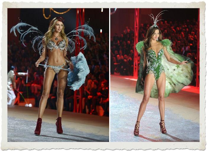 Candice Swanepoel e Miranda Kerr nella sfilata in lingerie Victoria's Secret 2012