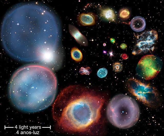Comparação de tamanhos de Nebulosas Planetárias