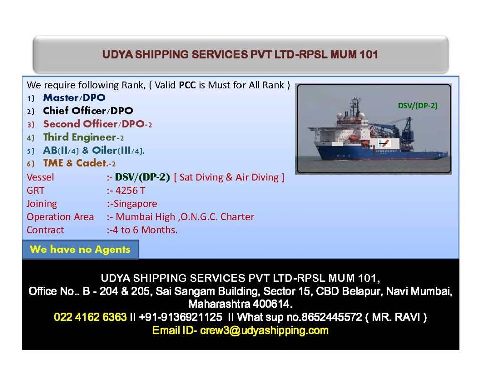 Urgent Officer, Engineer, Rating, Cadet For Offshore DSV Vessel