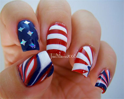 happy 4th of July 2017 nail arts