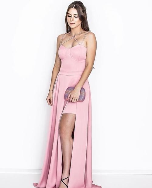 vestido de festa rosa  madrinha
