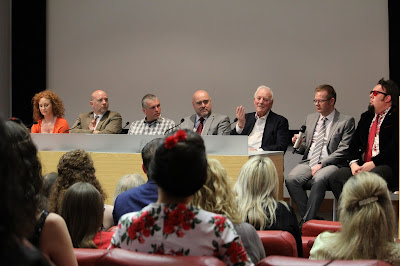 From left to right, Judi Trott, Jason Connery, Peter Llewllyn Williams, Mark Ryan, Robert Young, Iain Meadows and Barnaby Eaton-Jones
