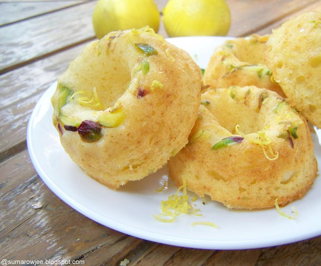 Mini Lemon Sour Cream Pound Cake With Beet Glaze