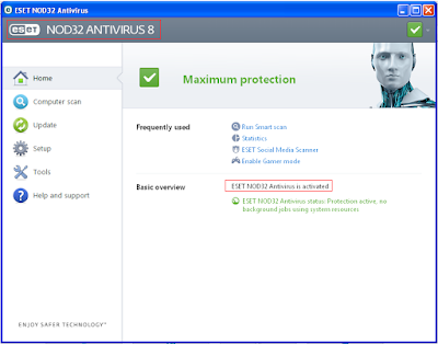 user and password nod32