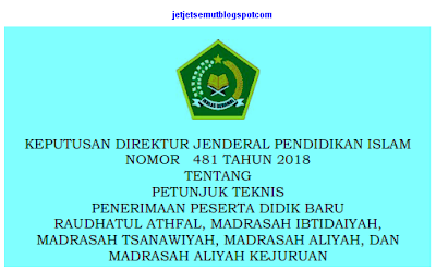 Juknis PPDB 2018-2019 Madrasah Juknis PPDB 2018-2019 Madrasah untuk RA, MI, Mts dan Madrasah Aliyah