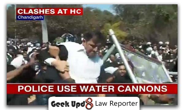 lathicharge on advocates and water cannons used - chandigarh and jaipur