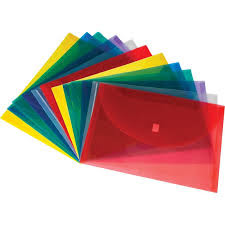 multicolor hook and loop plastic envelopes