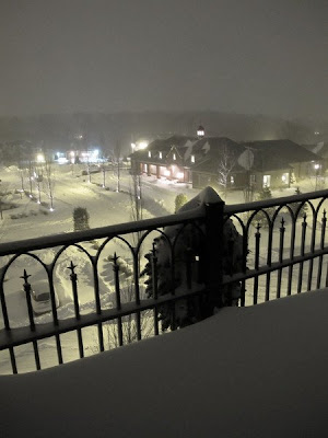 The Athertyn Residents' Clubhouse on a snowy winter night