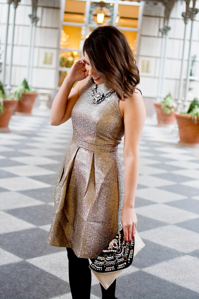 NYE dress, new years eve outfit idea, gold dress, metallic dress for new years, blogger holiday party outfit idea, holiday dress, new years dress, 2017 new years outfit idea